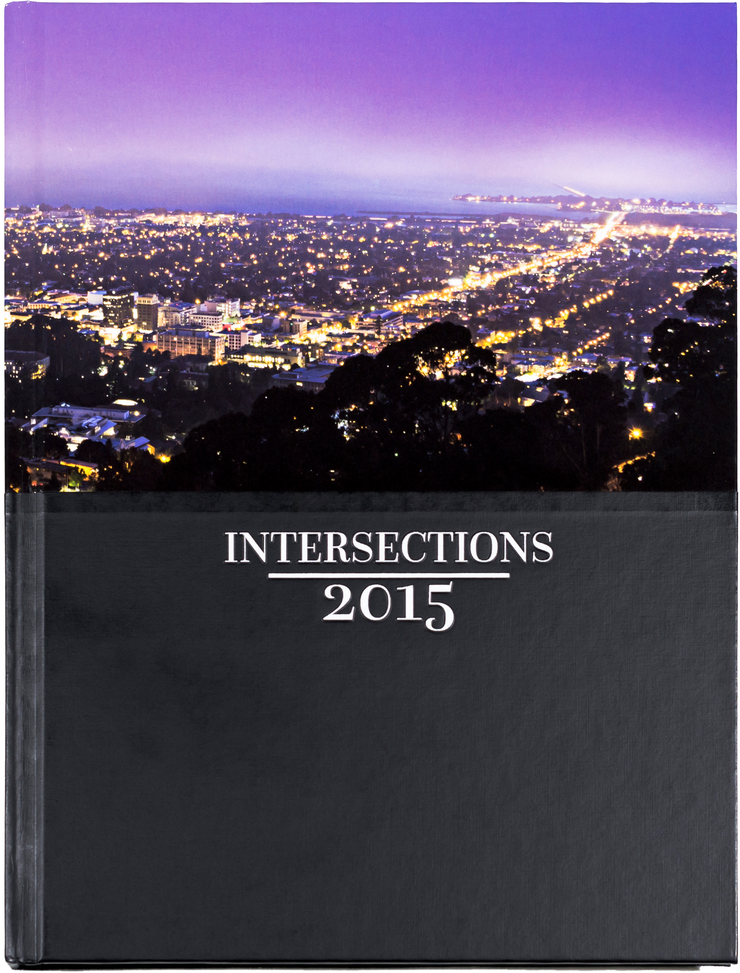 Yearbook cover with title 'Intersections' and date 2015. The top half of the cover features a photo overlooking the eastern part of the San Francisco Bay Area.