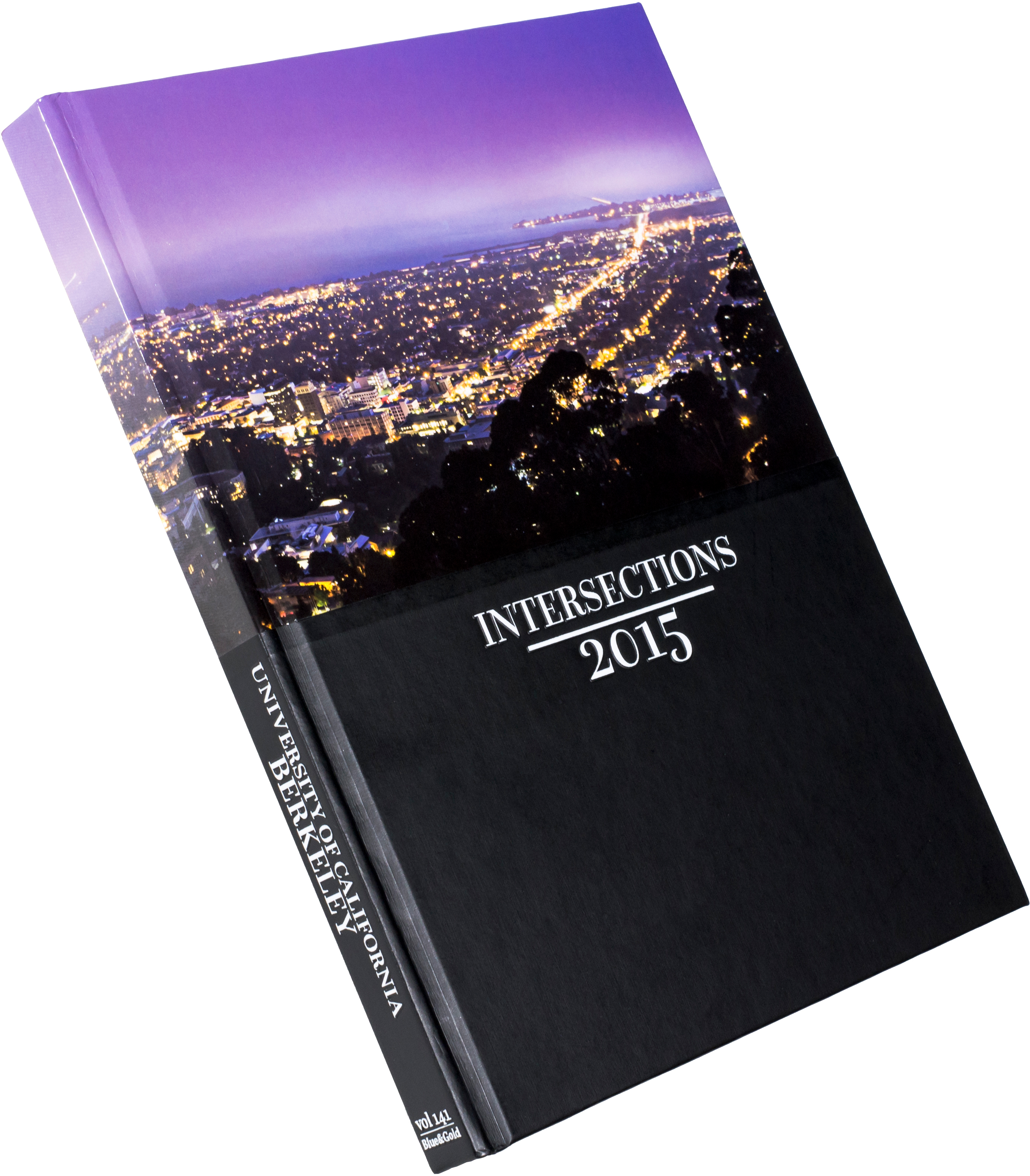 Yearbook with title 'Intersections' and date 2015. The spine says 'University of California Berkeley' and indicates volume 141. The top half of the cover features a photo overlooking the eastern part of the San Francisco Bay Area.